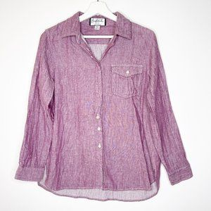 MARY MCFADDEN Purple Button Down Front Top